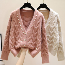 Sweet beaded V-neck knitted cardigan women's spring 2020 new fashion all-match knitted outer wear sweater