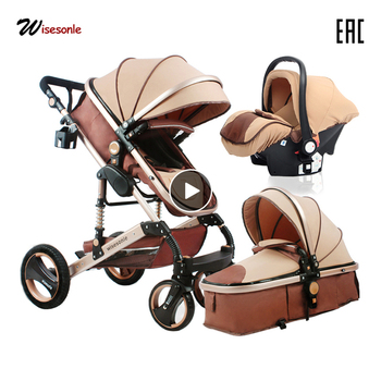 Wisesonle carrinho de bebê 2 em 1 carrinho de criança deitado ou umedecimento dobrável peso leve dois lados criança quatro estações rússia shippin livre 1