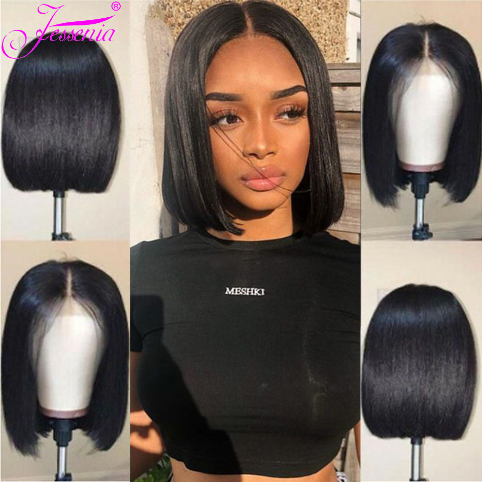 Peruvian Wig Straight Short Bob Lace Front Wigs 13x4 Lace Front Human Hair Wigs Pre-plucked With Baby Hair Jessenia Remy Hair
