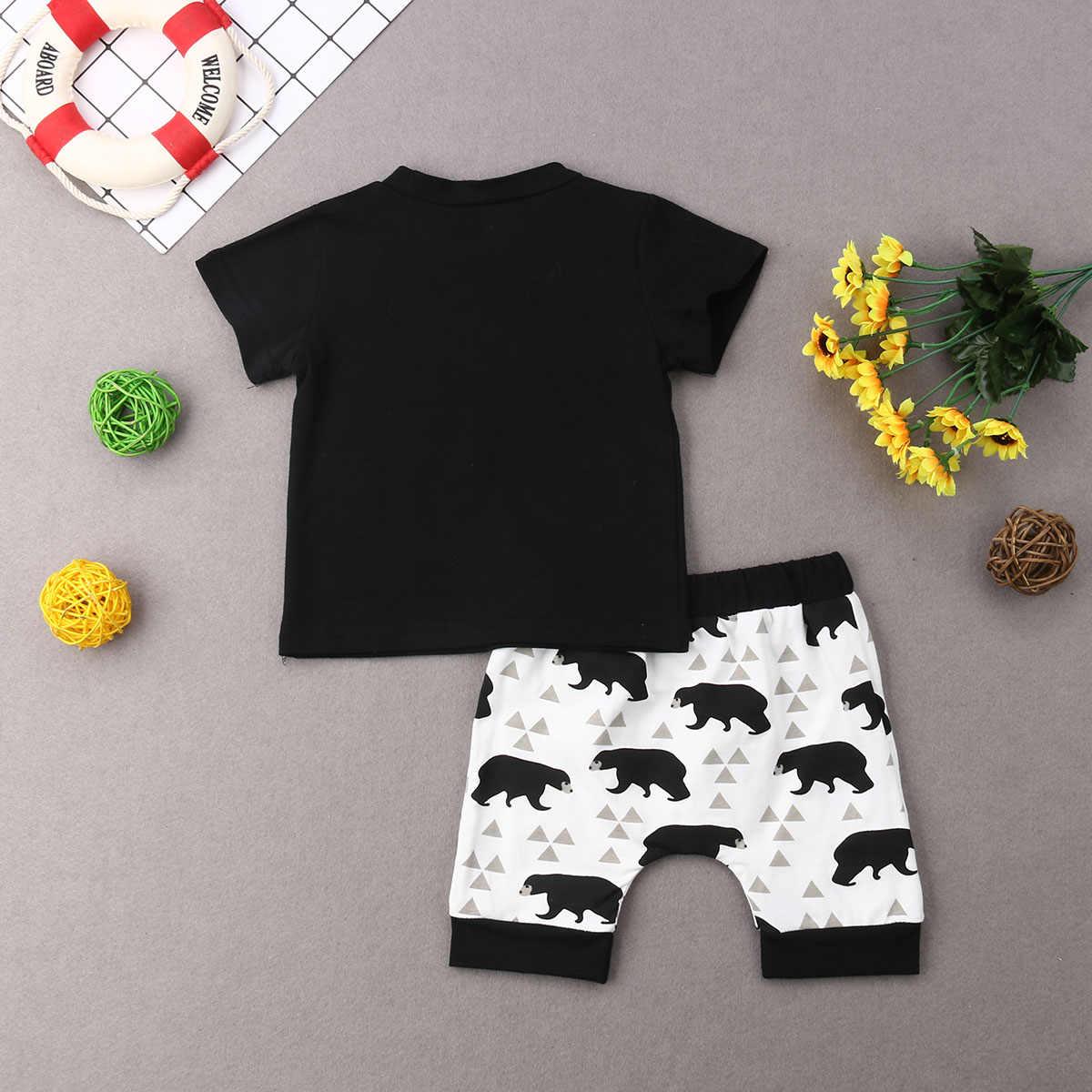 2019 frühjahr NEUE Sommer Neugeborenen Baby Jungen Kurzarm T-shirt Top Hosen Hosen Eingestellt