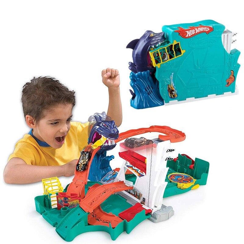 Hot Wheels przebarwienia wody, aby śledzić plastikowe metalowe miniatury samochody kolejowego brinquedo Educativo Hotwheels zabawki dla dzieci w Hot Wheels od Zabawki i hobby na  Grupa 1