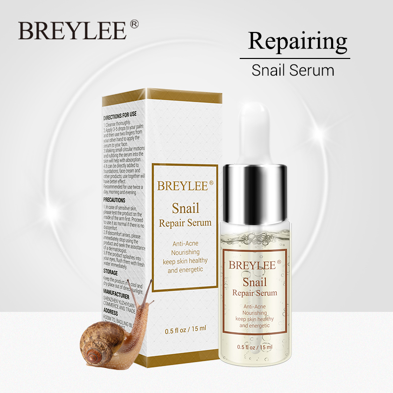 BREYLEE Snail Serum Anti-Acne Rejuvenation Essence Scars Acne Treatment Liquid Face Skin Care Nourishing Moisturizing Repairing