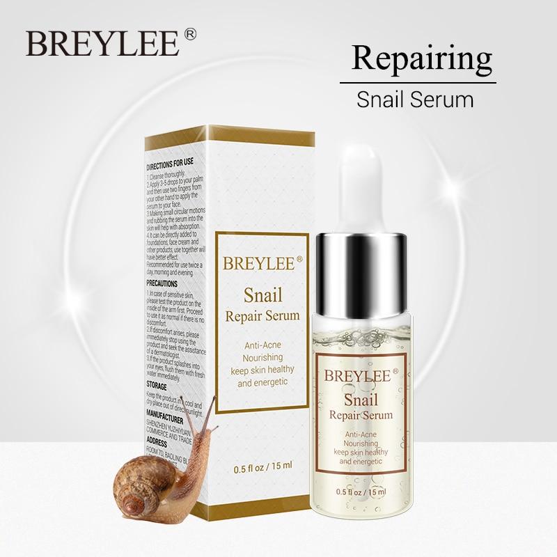 BREYLEE Snail Serum Anti-Acne Rejuvenation Essence Scars Acne Treatment Liquid Face Skin Care Nourishing Moisturizing Repairing