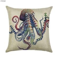 YYDD стикеры морской тематики наволочка с изображением пляжа Морская жизнь рыба живопись белье 18x18 Пледы Подушки CasesSofa стул Чехлы для подушек