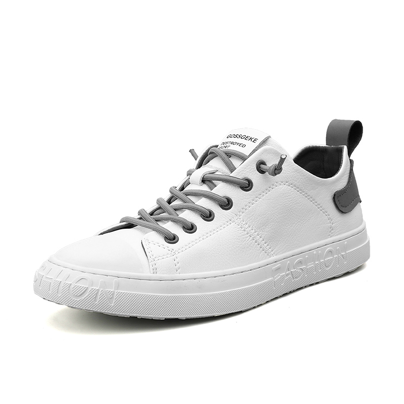 Korean Version Fashion Brand Casual Men Leather Shoes White Male Casual Shoes Breathable White Sneakers Leather Mens Moccasins