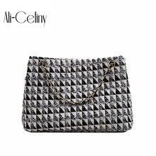 Женская брендовая Оригинальная дизайнерская сумка, женская сумка, модная шерстяная сумка через плечо, модная сумка на цепочке, сумка-мессенджер
