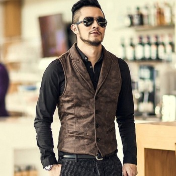 Suede Slim Fit Single Breasted Vest Mens 2020 Brand New Fashion Gothic Steampunk Victorian Style Waistcoat Men Casual