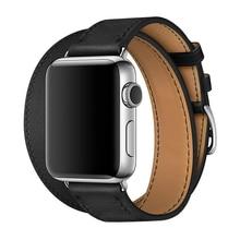 Dubbele Cirkel Dubbele Kleur Loop Armband Lederen Band Voor Apple Horloge 1 2 3 42Mm 38Mm Riem Voor iwatch Serie Se 6 5 4 40Mm 44Mm