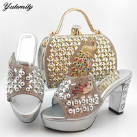 African Style Peacock Shape Stones Shoes And Bag To Match Set Newest High Heels Woman Shoes And Bag Set For Wedding Size 38 43