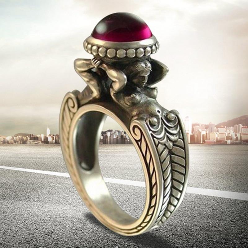 Duas sereias de pedra vermelha zircão anéis euramerican criativo vintage retro feminino banquete festa jóias