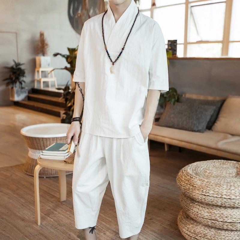 2018 Summer Men's Embroidered Flax Three-quarter-length Sleeve Capri Harem Pants Chinese-style Retro Fashion Set