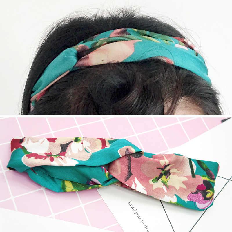 Kobiety dziewczęta opaski do włosów lato artystyczny nadruk opaski krzyż w stylu retro Turban bandaż opaski na głowę opaski do włosów akcesoria do włosów