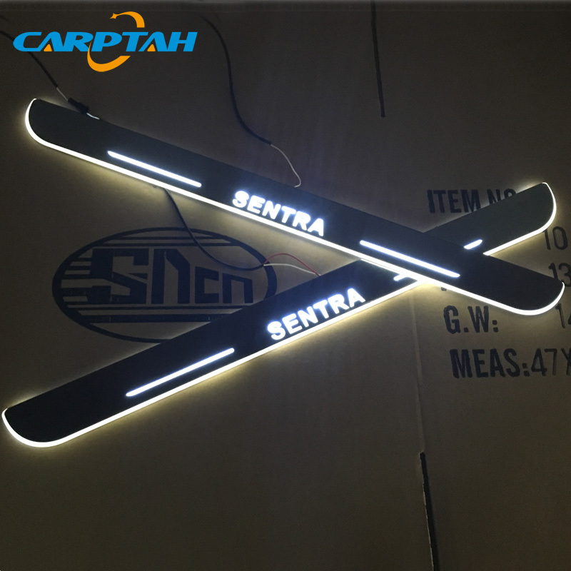 CARPTAH Trim Pedal Car Exterior Parts LED Door Sill Scuff Plate Pathway Dynamic Streamer light For Nissan Sentra 2013 - 2019