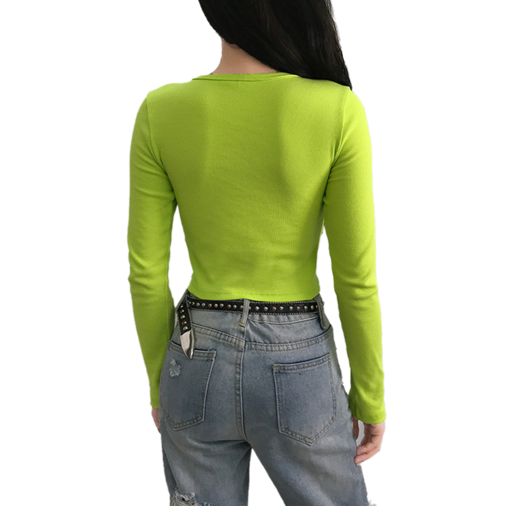 Fashion ribbed neon green summer Sun Embroidered T shirt Round Neck Tops Women Casual Long Sleeve T shirts tees casual in T Shirts from Women 39 s Clothing