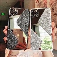 Funda de teléfono a prueba de golpes para iphone, carcasa de lujo a la moda con purpurina y espejo para iphone 11 12 Pro Max XS X XR 7 8 6 6S Plus SE 2020