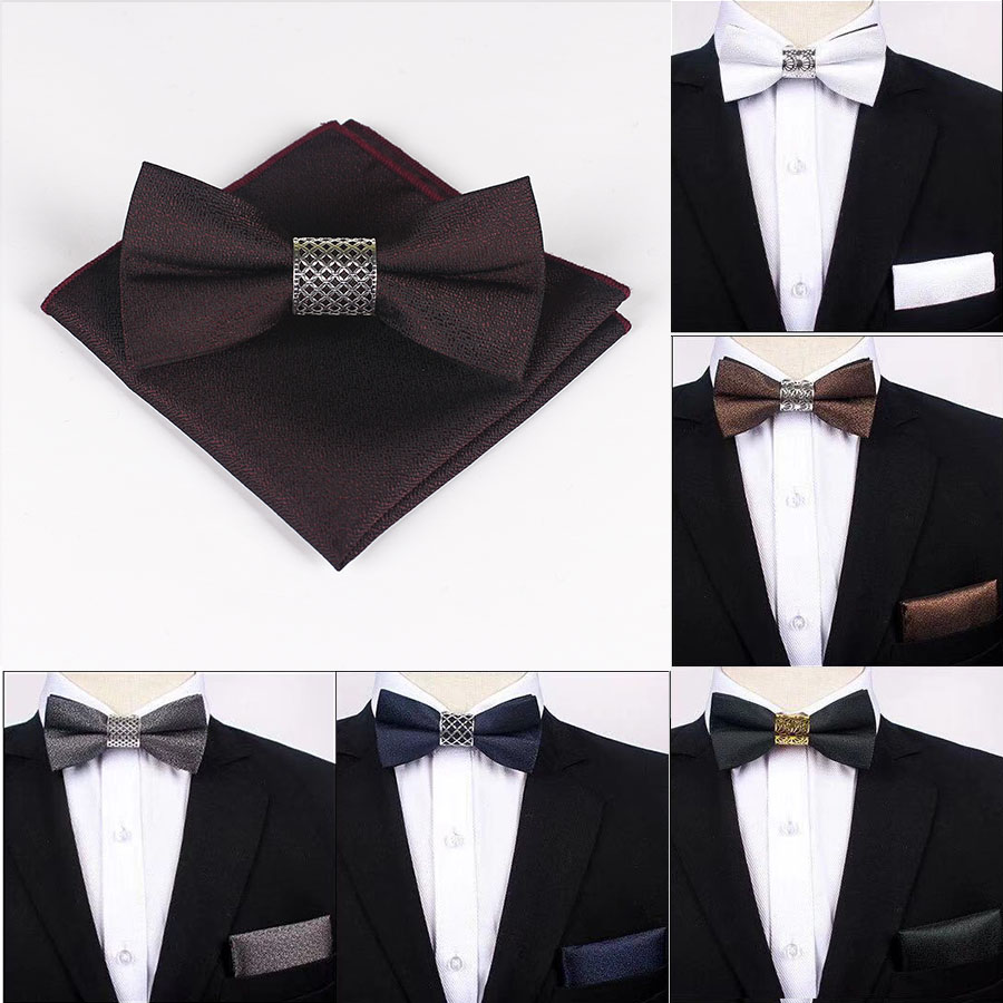Classic Silk Bow Ties For Men Butterfly Plain Bow Tie Pocket Square Set Blue Black Silver Gray Purple Burgundy Brown Bowtie