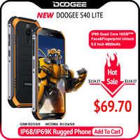 IP68 DOOGEE S40 Lite czterordzeniowy 2GB 16GB Android 9.0 wytrzymały telefon komórkowy 5.5 calowy wyświetlacz 4650mAh 8.0MP odcisk palca