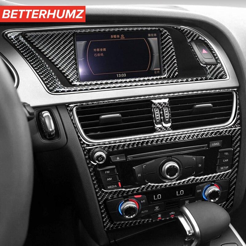 BetterHumz для Audi A4 A5 S5 центральная консоль из углеродного волокна Панель CD крышка выпускного отверстия Отделка приборной панели молдинги для ин...