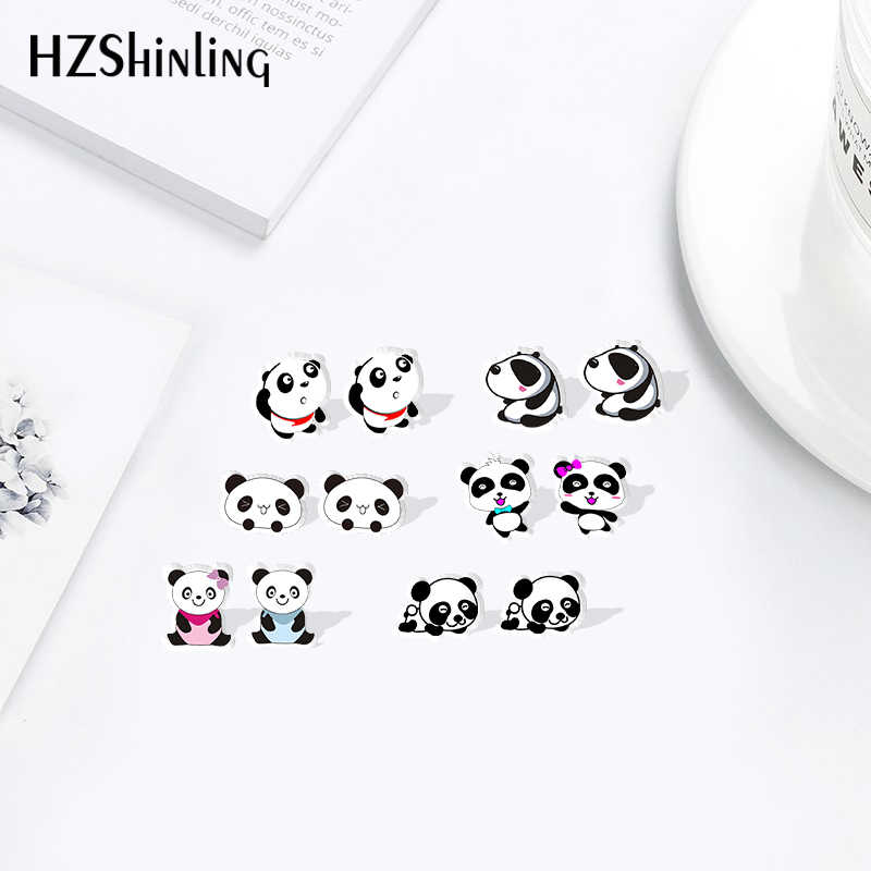 New Arrival Fashion Shrinky Dinks Stainless Steel Panda Sweet Summer Accessories Resin Earrings Acrylic Stud Earring Epoxy