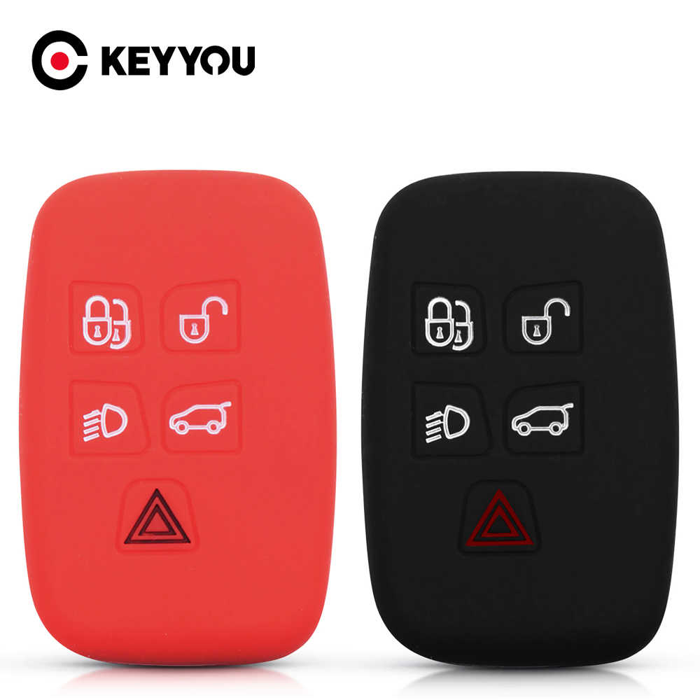 Keyyou Siliconen Autosleutel Case Voor Land Rover Discovery 4 Freelander 3 Range Rover Sport Evoque Vogue Remote 5 Knoppen smart Cover