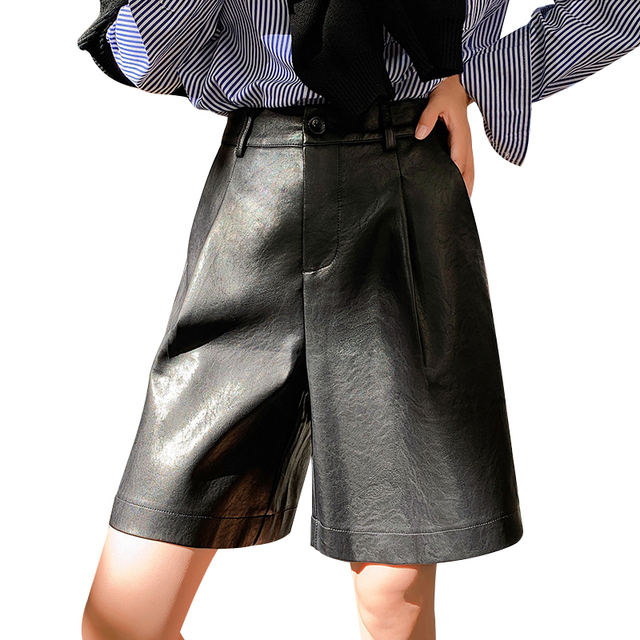 Back Buttons S-3XL Fashion PU Leather Shorts Women's Autumn Winter New 2019 Loose Five Points Leather Trouser Plus Size Shorts 1