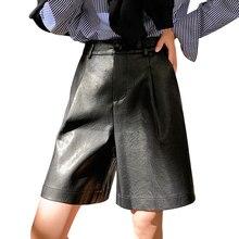 Женские шорты из искусственной кожи с пуговицами сзади, Осень зима, новинка 2019, свободные кожаные брюки с пятью точками, женские шорты