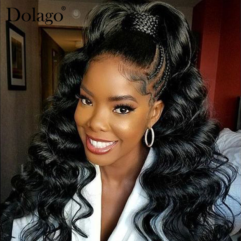 Loose Wave Full Lace Human Hair Wigs For Women 250 Density Brazilian Transparet Lace Wig Pre Plucked Glueless Black Dolago Wig