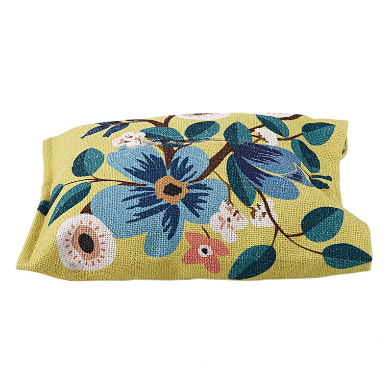 Yellow Bottom Flower Pattern Facial Tissue Box Cover Car Accessories
