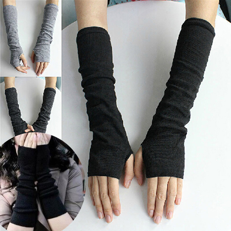 Winter Women Fingerless Gloves Femme Knitted Glove Knitted Arm Warmers Glove New Fashion Warm Long Sexy Adult Elbow Solid GAOKE
