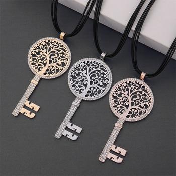 Runde CZ Baum des Leben Schlüssel Anhänger Halskette für Frauen Luxus Geschenk Silber Farbe Gold Schlüssel zu Meinem Herzen Glück anhänger Lange Halskette