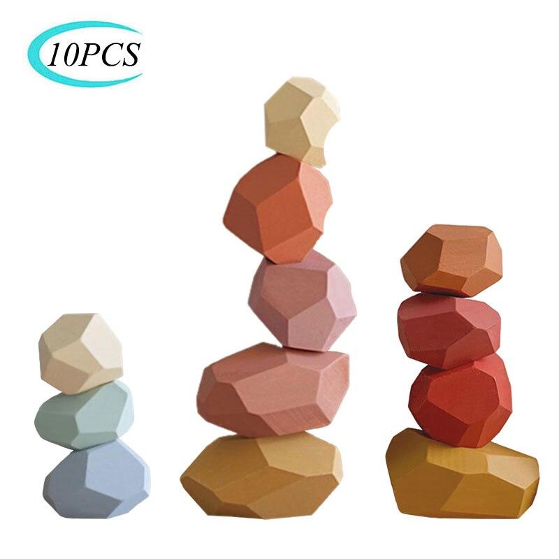 Pierres en bois colorés pour enfant, jeu Jenga éducatif et créatif de bloc de construction, couleur arc en ciel, style nordique, empilement, cadeau