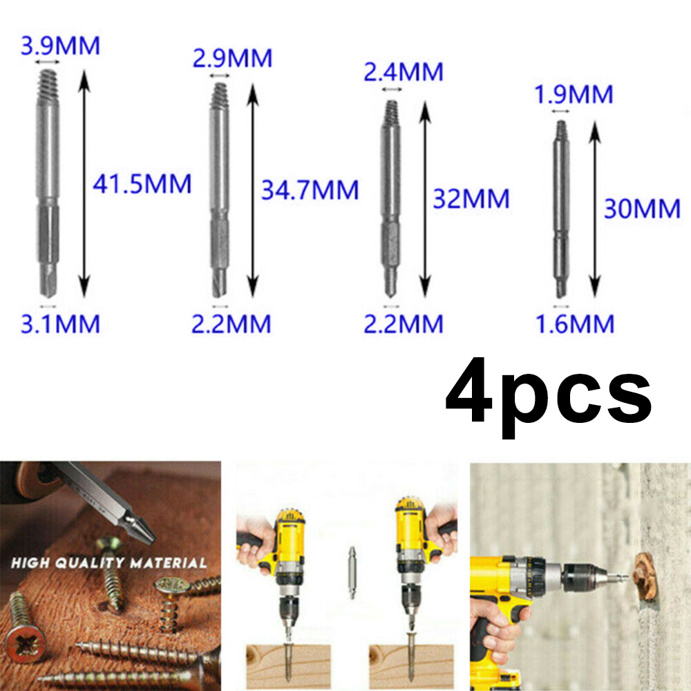 4PCS Mini Screw Easy Out Premium Extractor Broken Damaged Bolt Remover Drill Bit
