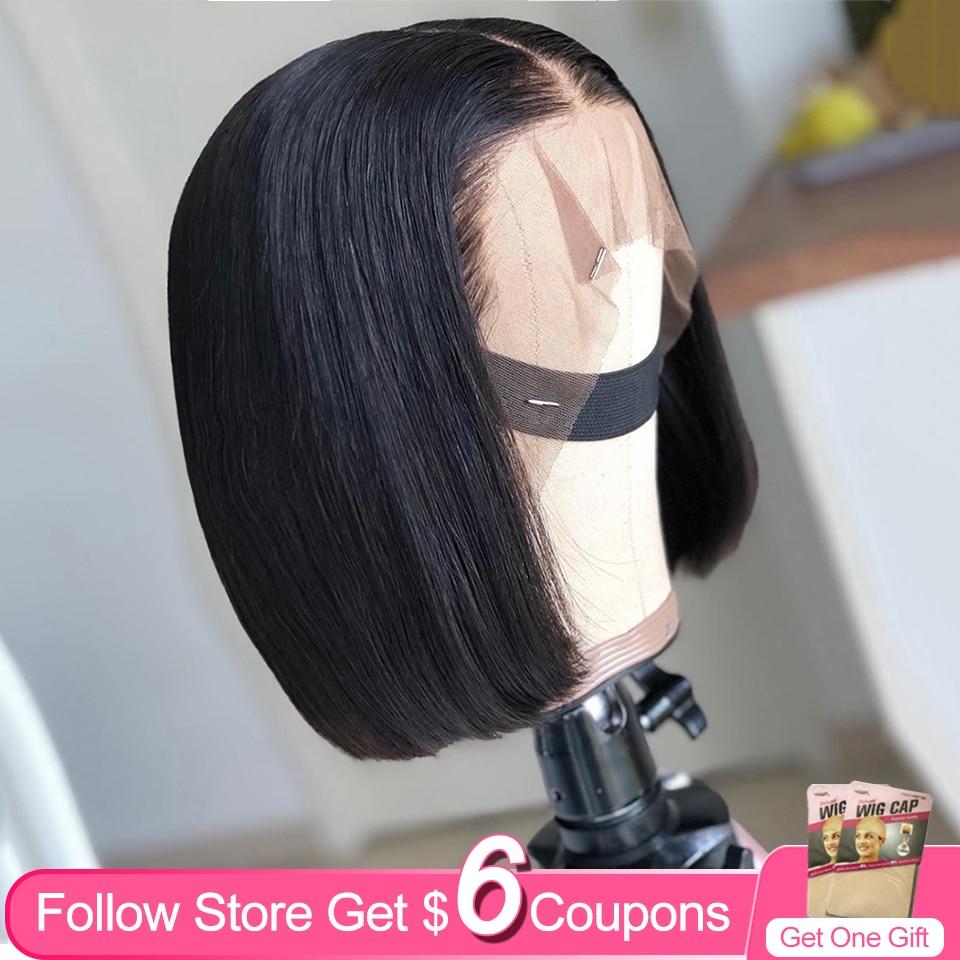 13x6 perucas dianteira do laço bob cabelo humano aircabin brasileiro em linha reta 16 Polegada cor natural parte profunda perucas para preto
