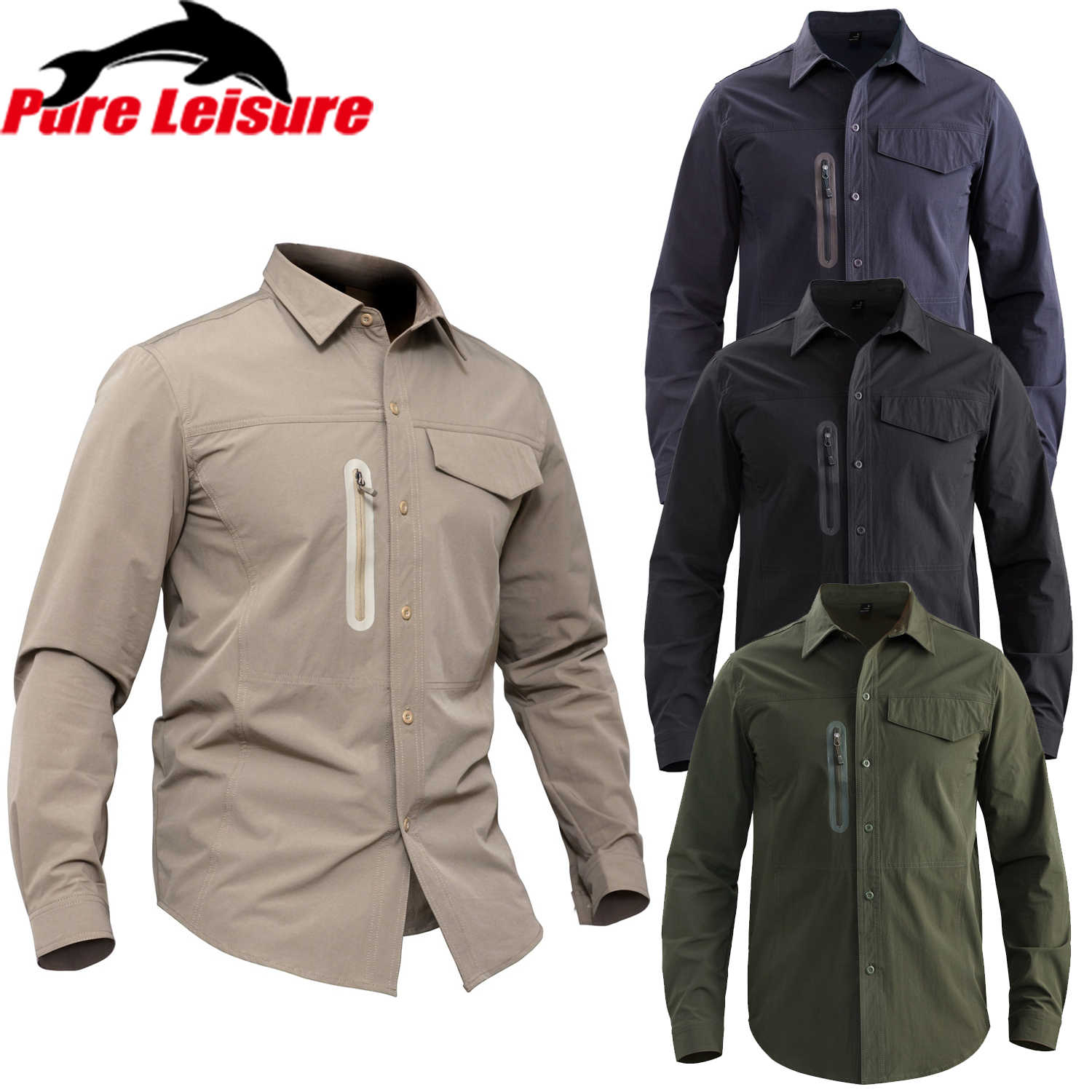 PureLeisure Mannen T-shirts Outdoor Vissen Militaire Tactical Business Mannen Sociale Shirts voor Sport Camping Jacht Shirt