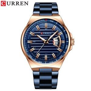 Image 3 - CURRENนาฬิกาแบรนด์ผู้ชายหรูหราธุรกิจนาฬิกาข้อมือควอตซ์แฟชั่นผู้ชายสแตนเลสสตีลอัตโนมัตินาฬิกาRelojes