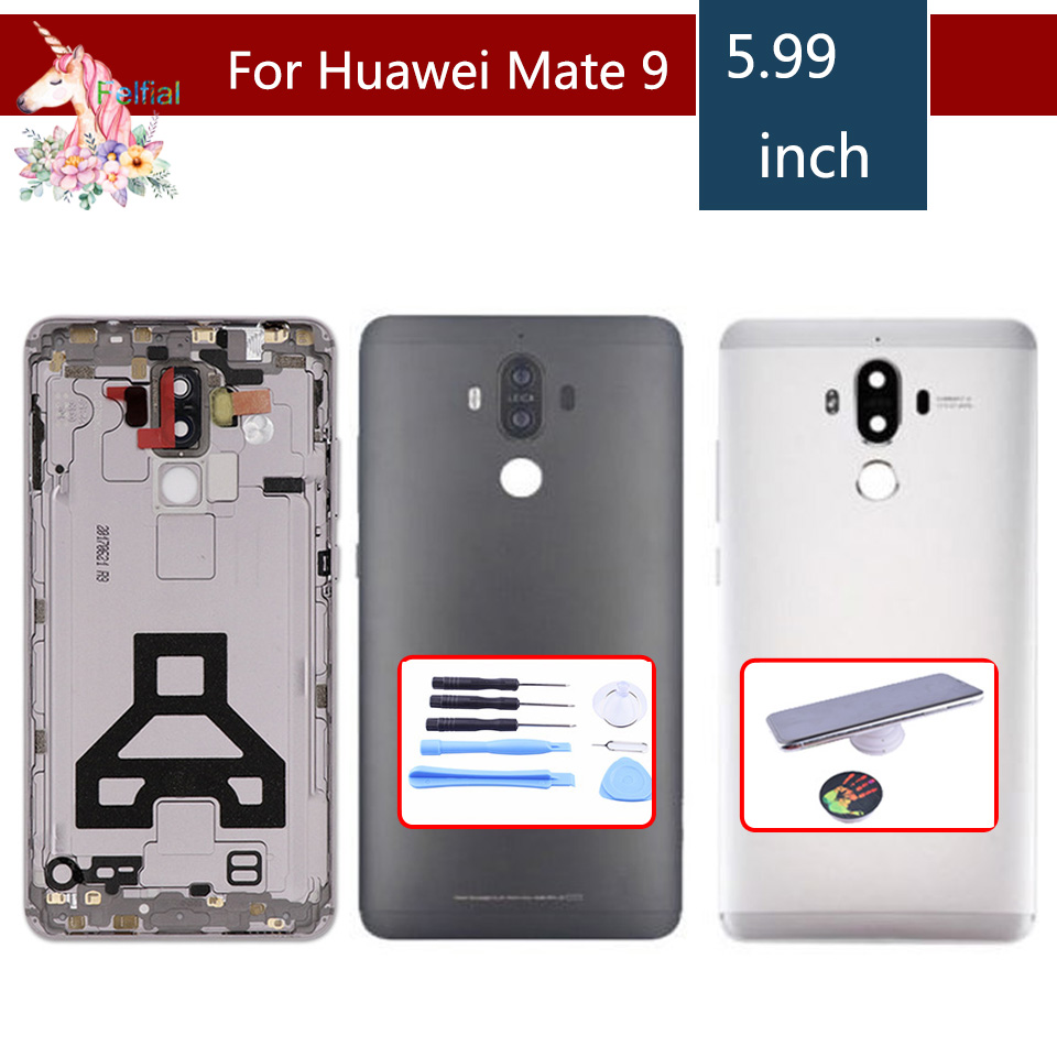 "5.9""For Huawei Mate 9 MHA L09 mate9 Rear Battery Back Cover Glass Panel Door Housing Case with Power Volume Buttons