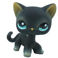 Лпс стоячки кошки Игрушки для кошек lps, редкие подставки, маленькие короткие волосы, котенок, розовый#2291, серый#5, черный#994,, коллекция фигурок для питомцев - Цвет: 994