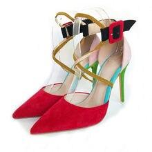 Mulher sapatos de salto alto 12cm vestido vermelho sapatos cinta tornozelo bombas mulheres sexy sapatos de salto alto zapatos mujer rm015 chensir9