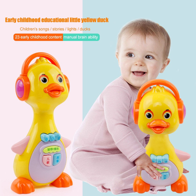Electric Cartoon Duck Light Playing Interest Story Learning Machine Children Early Educational Baby Musical Toys Funny Games