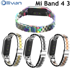 Fashion Replacement Metal Strap MI band 4 Global Stainless Steel Bracelet Wristbands Mi4 strap for Xiaomi mi Band 3 Strap correa(China)