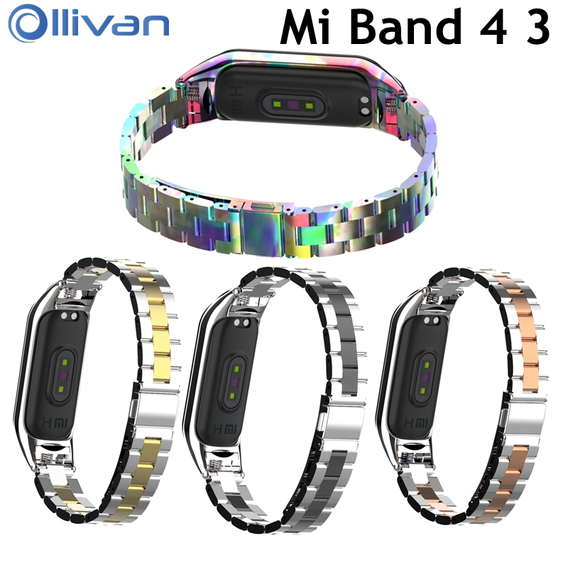 Fashion Replacement Metal Strap MI band 4 Global Stainless Steel Bracelet Wristbands Mi5 strap for Xiaomi mi Band 3 Strap correa