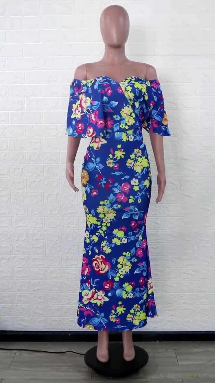 النمط الأفريقي المرأة العميق الخامس الرقبة فستان ماكسي أنيقة أنيقة مكشكشة غير النظامية فستان مثير واحد الكتف مساء حفلة حورية البحر