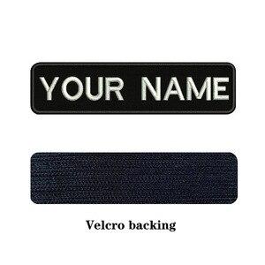 Image 3 - 10X2.5cm Ricamo Nome Personalizzato Testo Patch Strisce badge Iron On O Velcro Supporto Toppe E Stemmi Per I Vestiti Cappello Zaino BR 01A