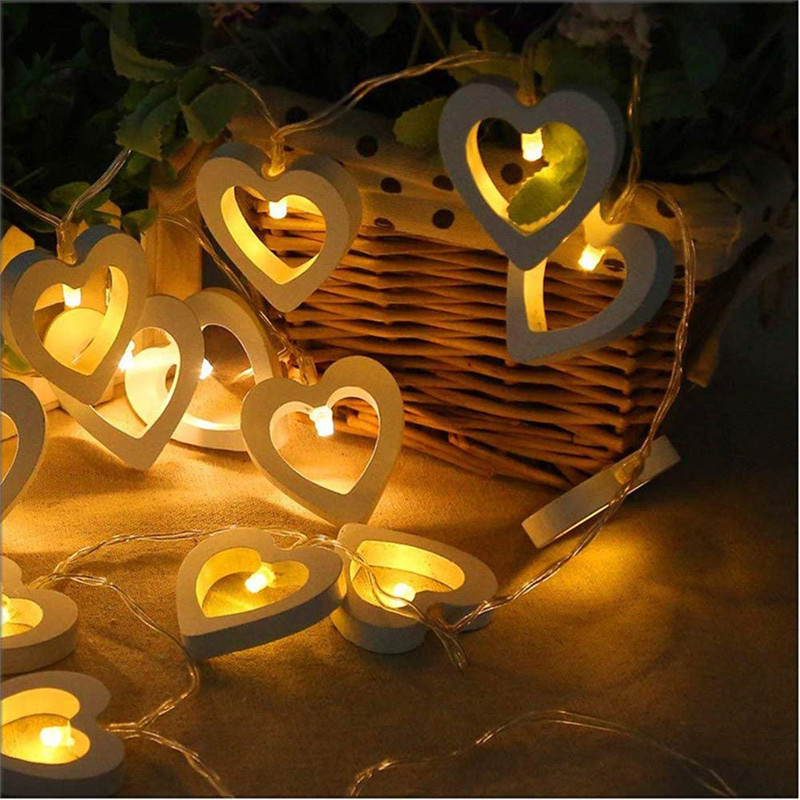 LED Fairy Garland String Lights 40LEDS Wooden Heart Night Light Romantic Wedding Christmas Lamp Party Birthday Home Decoration