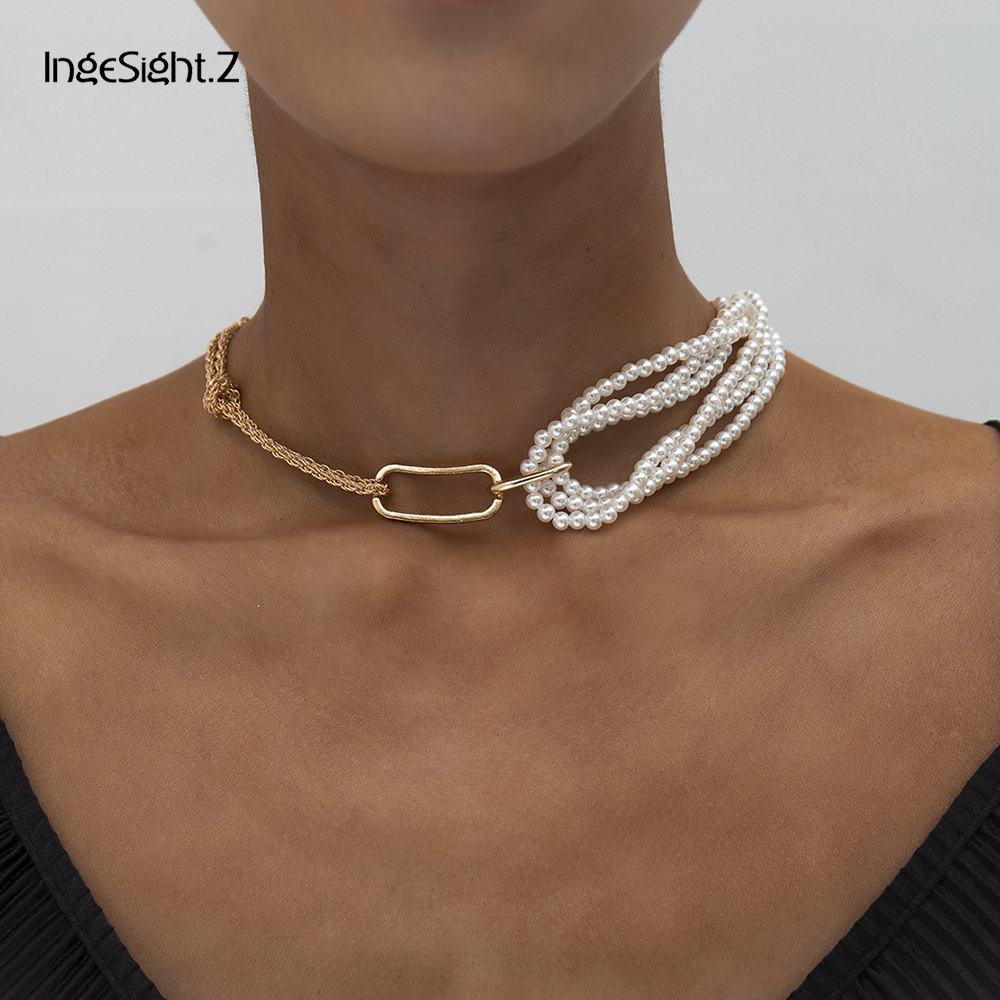 IngeSight.Z Punk Imitation Pearl Short Choker Necklace Collar Gold Color Metal Twisted Rope Chain asymmetrical Necklaces Jewelry