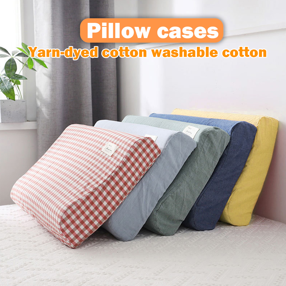 Solid Color Cotton Sleeping Pillow Case Brief Style Plaid Pillowcases Latex Pillow Case Cover 30x50CM/40x60CM