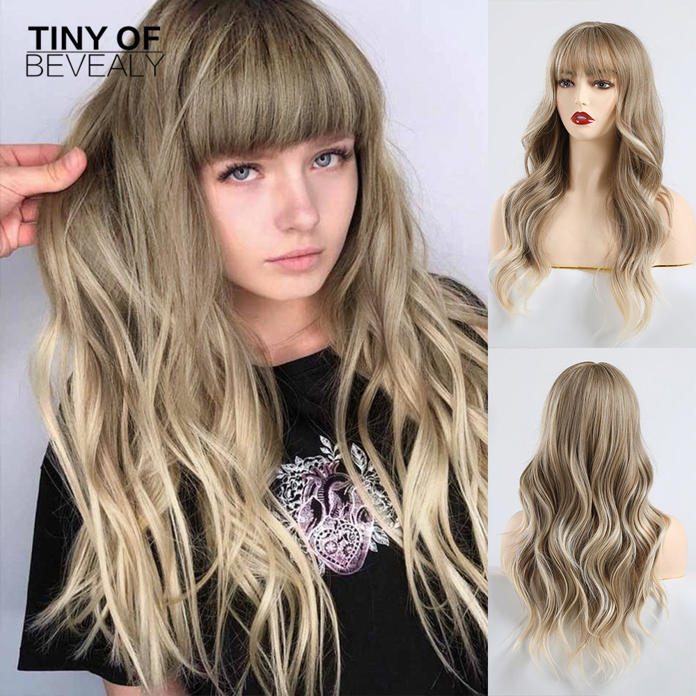 Long Wavy Mixed Brown Ash Blonde High Density Temperature Synthetic Wigs For Black/White Women Glueless Wavy Cosplay Hair Wig
