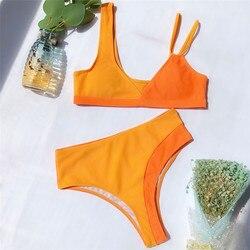Wysokiej talii stroje kąpielowe kobiety Push Up bikini Set Patchwork strój kąpielowy dla kobiet strój kąpielowy Bandeau Trikinis Mujer Banadores 2