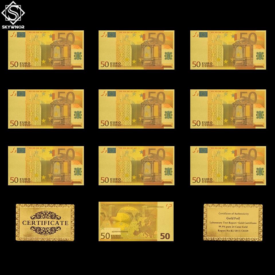 10 pces euro 50 conjunto de notas falso folha de ouro lembrança de papel dinheiro coleção/mesa decoração/presentes