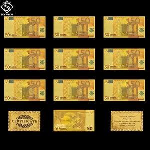 10PCS Euro 50 Banknote Set Fake Gold Foil Banknote Souvenir Paper Money Collection/Table Decor/Gifts(China)